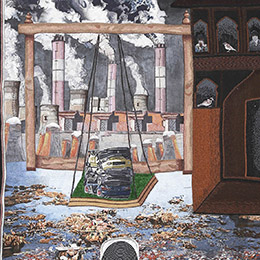 "Raga Hindol, - The Singing of a Sewer Man in Manhole & The Rising Chimneys of Cityscape. From the series "" Ragamala - Songs of Anthropocene"". Part II"